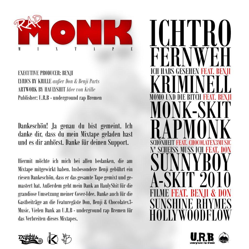 Das Back-Cover zu Krilles Mixtape Rapmonk